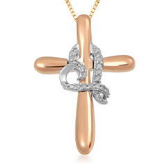 Hallmark Diamonds 1/10 CT.TW. Diamond 14K Rose Gold Over Silver Pendant with Sterling Silver Accent