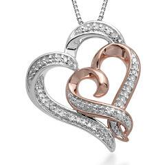 Hallmark Diamonds 1/4 CT. T.W. Diamond Sterling Silver Heart Pendant with 14K Rose Gold Accent