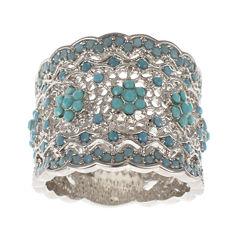 Jardin Blue Crystal Silver-Tone Wide Floral Filigree Pave Ring