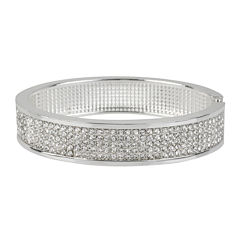 Worthington® Crystal-Accent Hinged Bangle Bracelet