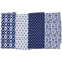 Design Imports Blue Market Set of 4 Assorted Kitchen Towels