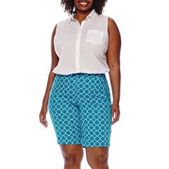 St. John's Bay® Sleeveless Button-Front Shirt or Twill Bermuda Shorts - Plus