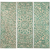 Green Medallion Set of 3 Metal Wall Art