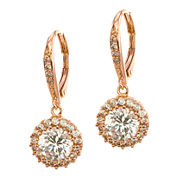 CZ by Kenneth Jay Lane Rose Gold-Tone Brilliant Dangle Earrings