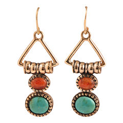 Art Smith by BARSE Turquoise & Coral Triangle Earrings