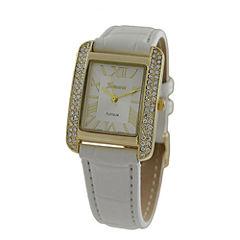Geneva Platinum Womens White Strap Watch-5975