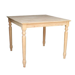 Unfinished Solid Wood Top With Turned Legs Square Wood-Top Dining Table