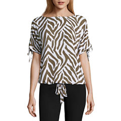 Liz Claiborne Short Sleeve Scoop Neck Woven Blouse