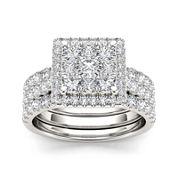 2 CT. T.W. Diamond 10K White Gold Bridal Set