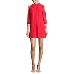 Speechless 3/4 Sleeve Shift Dress-Juniors