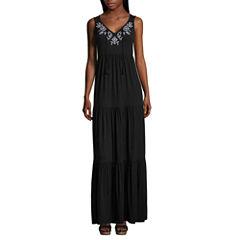 St. John's Bay Sleeveless Embroidered Tiered Maxi Dress-Petites