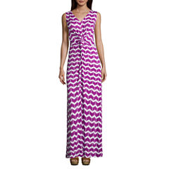 St. John`s Bay Sleeveless Twist Front Maxi Dress-Petites
