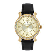 Worthington® Womens Black & Gold-Tone Strap Watch
