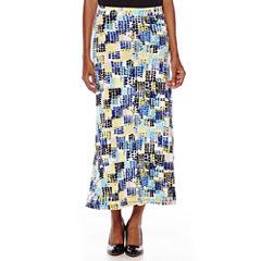 Evan-Picone Geo Square Print Maxi Skirt