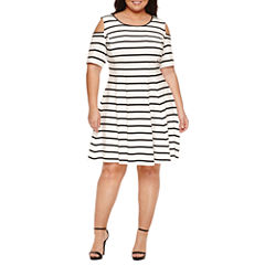 Danny & Nicole Elbow Sleeve Cold Shoulder Stripe Fit & Flare Dress-Plus