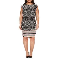 London Times Short Sleeve Blouson Dress-Plus