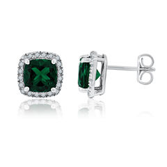 Cushion Simulated Emerald Sterling Silver Stud Earrings