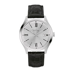 Caravelle New York® Mens Black Leather Strap Watch 43B143