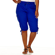 Arizona Poplin Cropped Cargo Pants - Juniors Plus