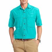 Izod Surfcaster Short Sleeve Solid Button Front Shirt