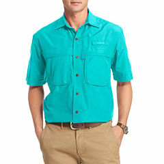 IZOD Surfcaster Short Sleeve Solid Button Front Shirt