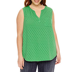 Liz Claiborne Knit Tank Top-Plus