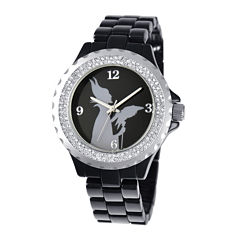 Disney Maleficent Womens Crystal-Accent Black Bracelet Watch