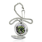 Marvel® Hulk Mens Silver-Tone Pocket Watch