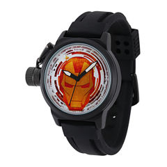 Marvel® Iron Man Mens Black Silicone Strap Crown Protector Watch