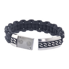 Mens Stainless Steel and Black Leather ID Bracelet