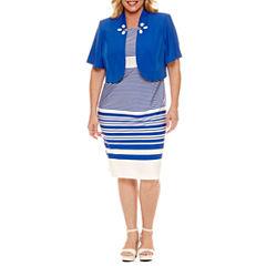Maya Brooke Short Sleeve Embellished Jacket Dress-Plus