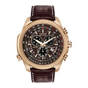 Citizen® Eco-Drive® Mens Perpetual Calendar Chronograph Brown Strap Watch BL5403-03X