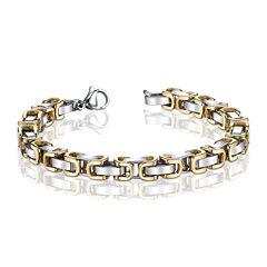 Mens Two-Tone Stainless Steel Byzantine Chain Bracelet