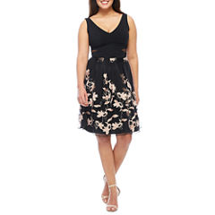 Scarlett Sleeveless Embroidered Pattern Fit & Flare Dress