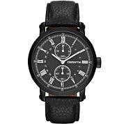 Claiborne Mens Black Leather Chronograph Watch