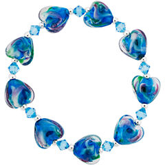 Dazzling Designs™ Silver-Plated Teal Glass Heart Stretch Bracelet
