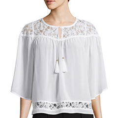 nicole by Nicole Miller® 3/4-Sleeve Split Neck Lace Top