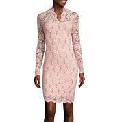 Blu Sage Long-Sleeve Sequined Lace Sheath Dress