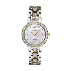 Seiko Crystal Womens Two Tone Bracelet Watch-Sup360