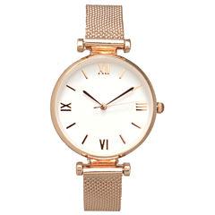 Olivia Pratt Mesh Womens Rose Goldtone Strap Watch-16245