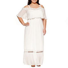 Ashley Nell Tipton for Boutique + Short SleeveOff TheShoulder Maxi Dress-Plus
