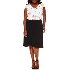 SHORT LACE SLEEVE VNECK BLOUSE, PLEATED OVERLAP MIDI SKIRT