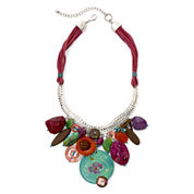 Aris by Treska Multicolor Stone Cord Statement Necklace