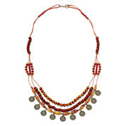Aris by Treska Coin Drop and Red Bead Long Necklace
