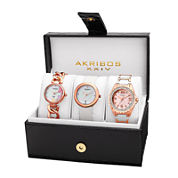 Akribos XXIV Womens 3-pc. White Diamond Accent Bracelet and Satin Strap Watch Set