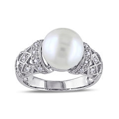 1/10 CT. T.W. Diamond & Cultured Freshwater Pearl Sterling Silver Ring