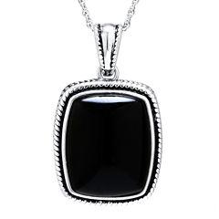 Genuine Black Onyx Sterling Silver Rectangular Pendant Necklace