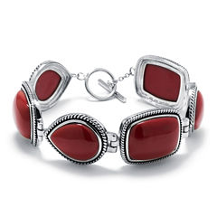 Simulated Red Jasper Sterling Silver Link Bracelet