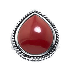 Simulated Red Jasper Sterling Silver Teardrop Ring