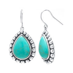 Simulated Turquoise Sterling Silver Pear Drop Earrings